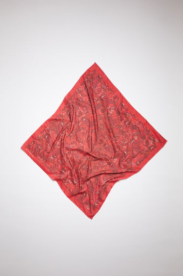 Acne Studios red bandana scarf is crafted to a square shape from a creased cotton blend and then printed all over with a paisley pattern - with a soft, washed out finish.