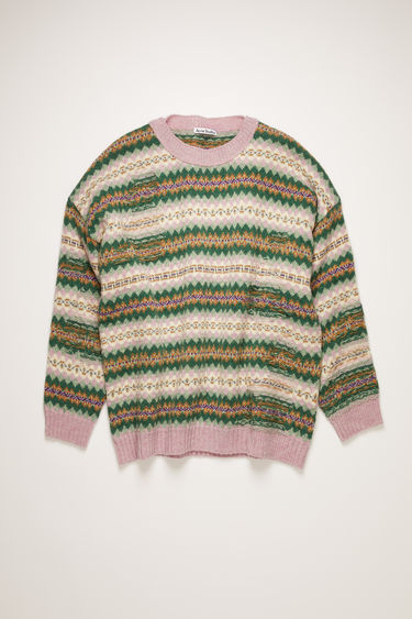 Acne Studios green/pink multi sweater is knitted in a traditional Fair Isle pattern from soft British lambswool. It's crafted to a boxy silhouette with dropped shoulders and features reverse stitched details across the body.