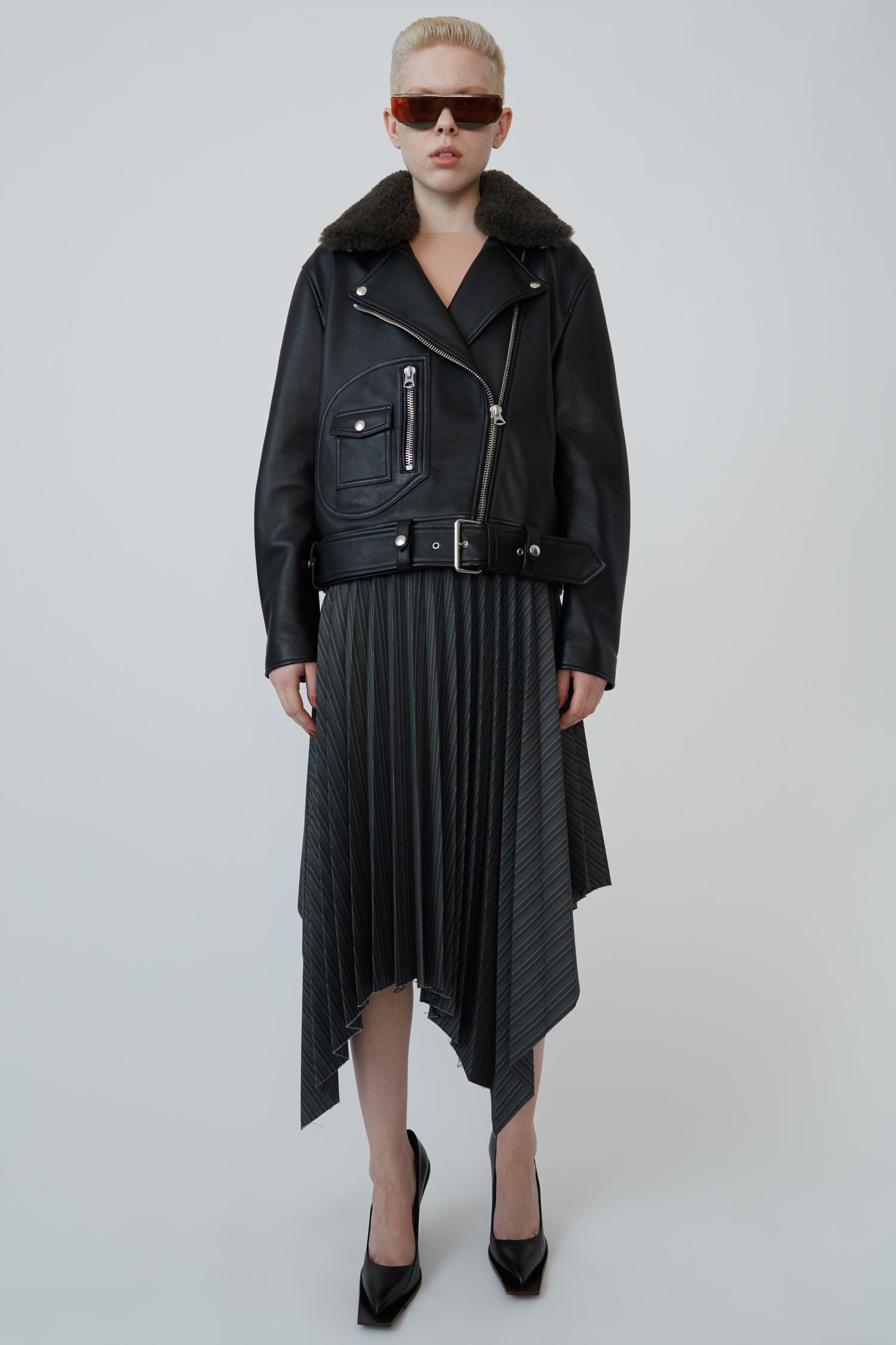 Shearling Collar Leather Biker Jacket, Black from Acne Studios