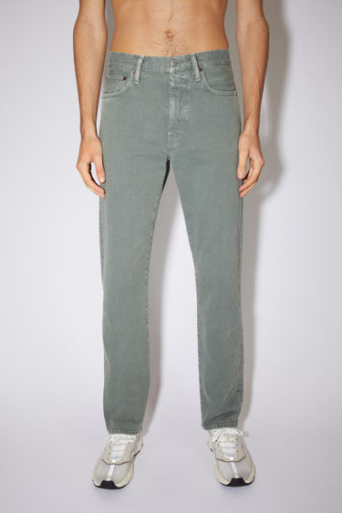 Acne Studios moss green jeans are made from from rigid denim with a high rise and a straight leg.