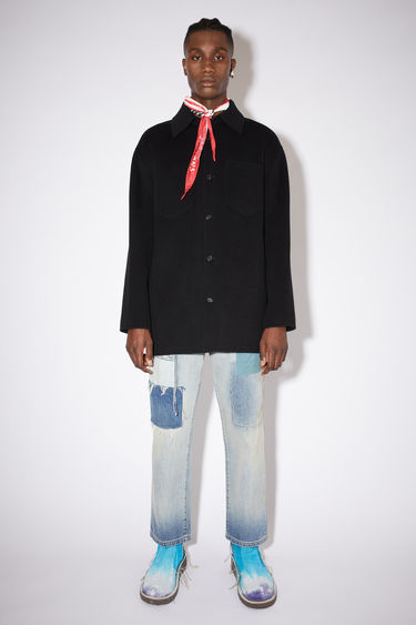 Acne Studios black double face shirt jacket is made of wool with multiple pockets.