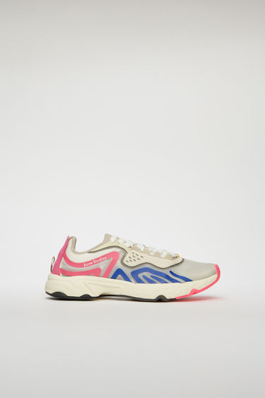 Acne Studios white/blue/pink sneakers feature a combination of running and trail elements in one silhouette. Crafted from ripstop with faux suede overlays, they're set on cushioned soles and accented with fluorescent trims.