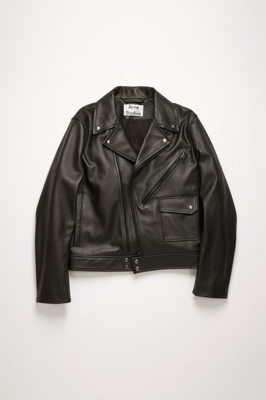 Acne Studios black biker jacket is crafted from soft calf leather and features an array of pockets and brass-tone metal hardware.