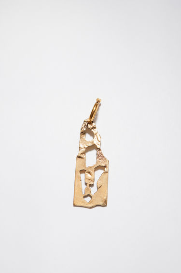 Acne Studios gold earring is crafted with a hammered pendant and features a stencil of the letter 'A', then secured via a hinge fastening.