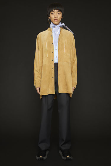 Acne Studios mushroom beige shirt is crafted from supple suede to an oversized fit and has a neat grandad collar and two front pockets.