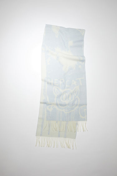 Acne Studios pale blue long rectangular scarf is made of a wool blend featuring a Welcome to Stockholm jacquard design.