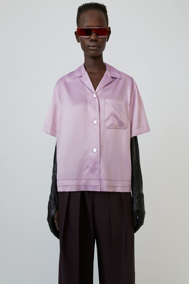Satin Bowling Shirt Light Lilac Purple by Acne Studios
