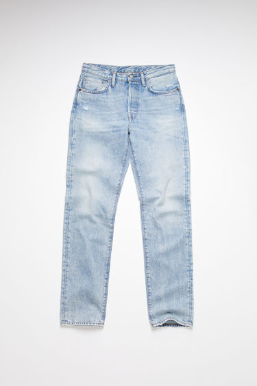 Acne Studios light blue trash jeans are made from rigid denim with a high rise and a regular leg.