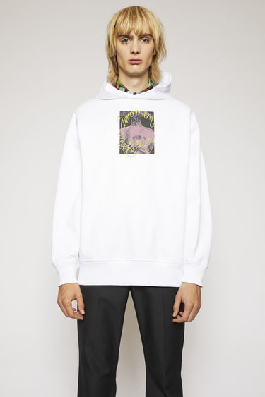 Acne Studios optic white hooded sweatshirt is crafted from loopback jersey and printed 'Summer Solstice' in a handwritten-style on front and back.