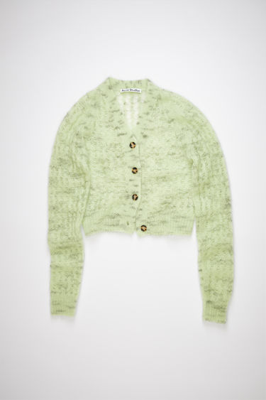 Acne Studios mint green sweater is made of a sheer, open knit mohair blend with a cropped fit.