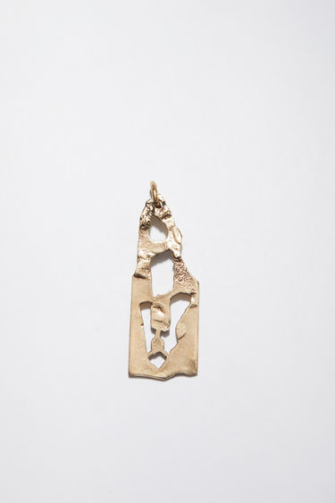 Acne Studios gold pendant is shaped with a letter stencil and hammered to an uneven texture.  The pendant can be personalised with a chain necklace.