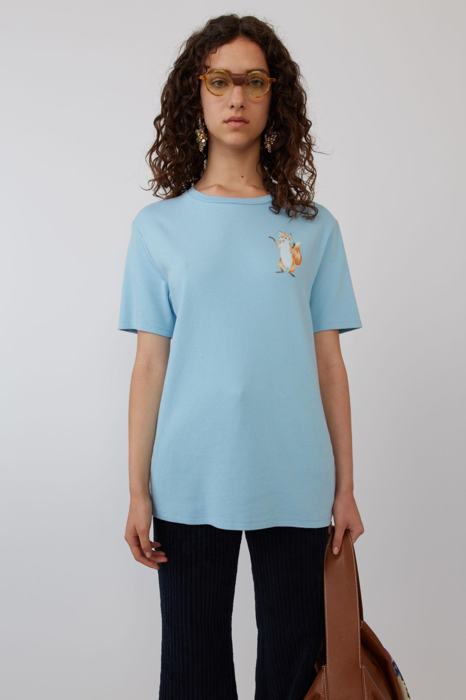 ACNE STUDIOS Fox Print T-Shirt Pale Blue