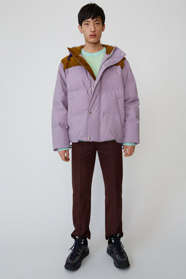 Acne Studios lavender purple boxy-fit, hooded blouson finished with hidden ribbed cuff and internal technical drawcord.