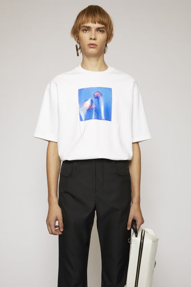Acne Studios optic white t-shirt is made from technical interlock jersey and features a jellyfish-print patch on front.
