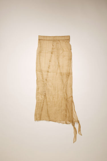 Acne Studios camel brown bias-cut skirt is crafted from a lightweight cotton-organza with an elasticated waistband and knotted ties, and left unlined for a soft drape.