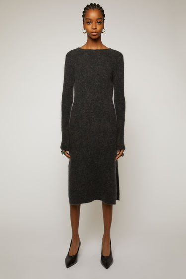 Acne Studios charcoal melange midi dress made from a mohair blend and shaped to a form-fitting silhouette.