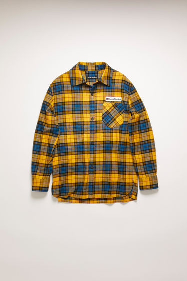 Acne Studios yellow/black checked shirt is made from cotton flannel and features front patch pockets - forward with one and in reverse with the other - then accented with a twill logo-embroidered patch.
