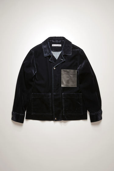 Acne Studios navy chore jacket crafted from flocked denim that's stone-washed for a soft, washed-out finish and features leather chest patch pocket, an open collar and snap button closures.