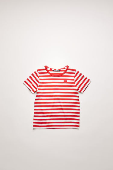 Acne Studios cherry red striped t-shirt is cut from a lightweight cotton jersey with a classic crew neck and short sleeves and accented with a tonal face-embroidered patch on front.