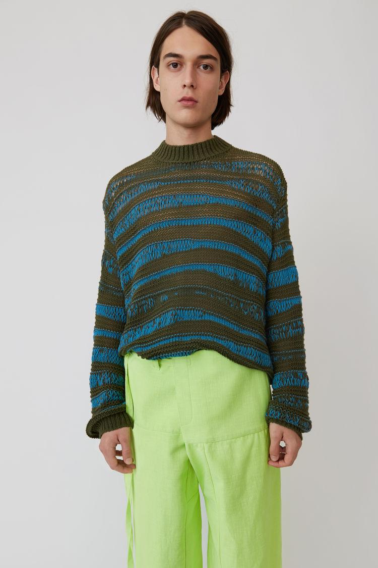 Gestreifter Pullover Im Used Look Khaki/Türkis by Acne Studios