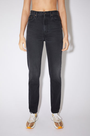 Acne Studios washed out black jeans are made from rigid denim with a high rise and a slim, straight leg.