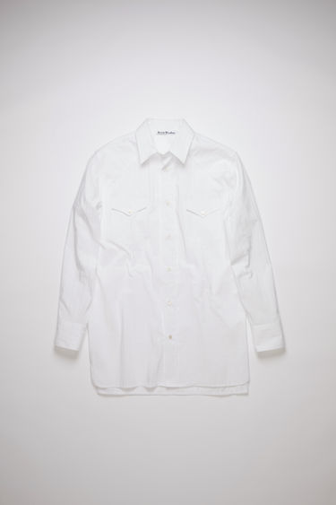 Acne Studios off white striped oversized shirt is made of cotton, featuring two chest pockets and a logo embroidery.