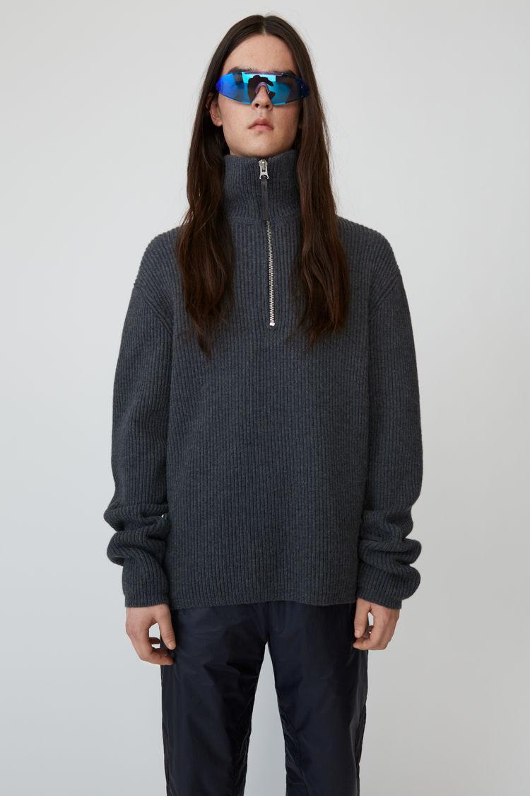 Zip Up Wool Sweater  Dark Grey Melange by Acne Studios