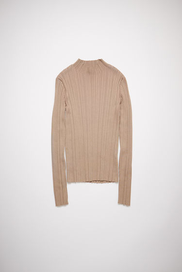 Acne Studios taupe beige irregular rib knit sweater has a mock neck with a fitted, elongated silhouette.