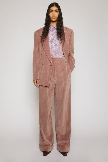 Acne Studios mauve purple trousers are crafted from soft, creased velvet and cut with a flattering high-rise waist that falls to straight legs with turned-up cuffs.
