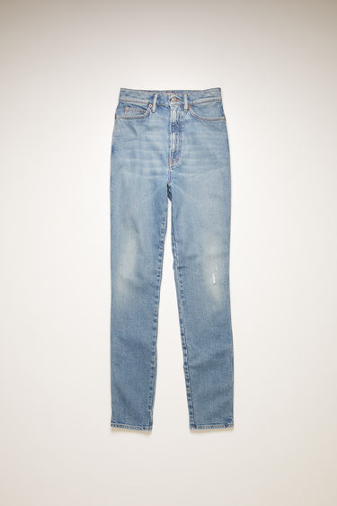 Acne Studios 1994 Super Blue jeans are crafted from comfort stretch denim that's washed to give a worn-in appeal. They're cut to a skinny-leg shape with a super high-rise waist that taper and crop at the ankles.