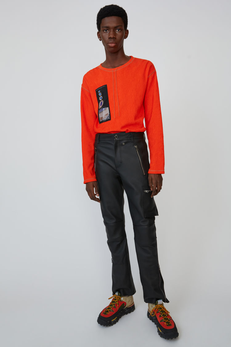 Fitted Leather Trousers Black by Acne Studios