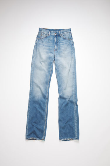 Acne Studios mid blue jeans are made from rigid denim with a mid rise and a bootcut leg.