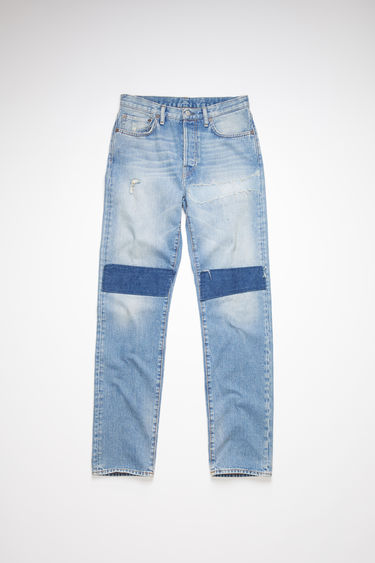 Acne Studios light blue jeans are made from rigid denim with a high rise and a regular leg.