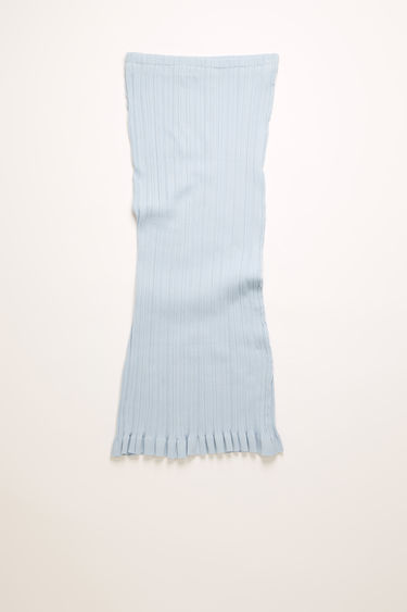 Acne Studios ice blue skirt is crafted to a slim fit from mercerized cotton knit and features an irregular rib pattern and ruffled hem.