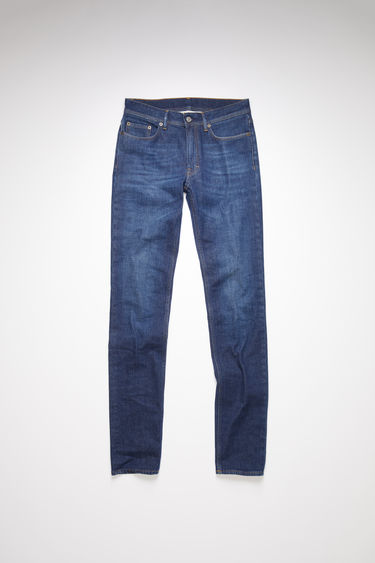 Acne Studios dark blue jeans are made from comfort stretch denim with a mid rise and a skinny leg.