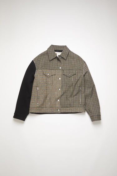 Acne Studios brown/black panel jacket are crafted in repurposed black rigid denim and checked wool fabric. Shaped in a boxy silhouette with dropped shoulders and finished with buttoned patch pockets, and detachable sleeves.