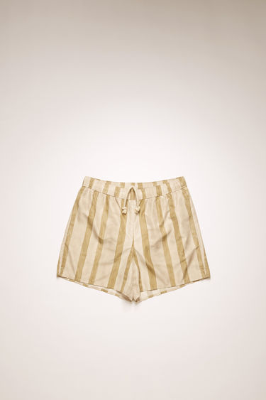 Acne Studios cold beige/warm white swim shorts are crafted from technical nylon with front and back pockets and patterned with vertical stripes.