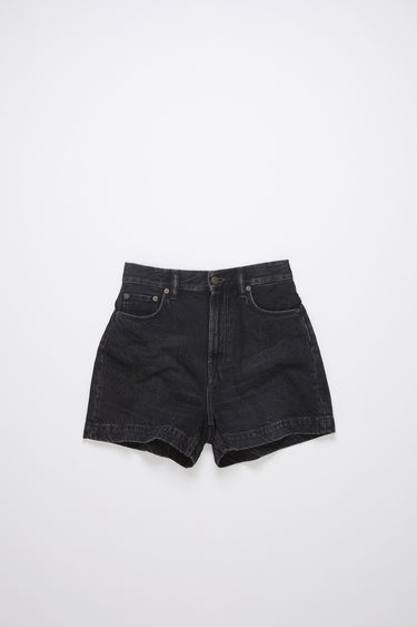 Acne Studios black rigid denim shorts are made of cotton, featuring a stone washed, black overdyed denim.