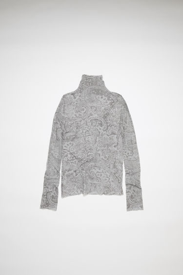 Acne Studios grey long sleeve t-shirt is made of printed nylon with a second-skin fit.