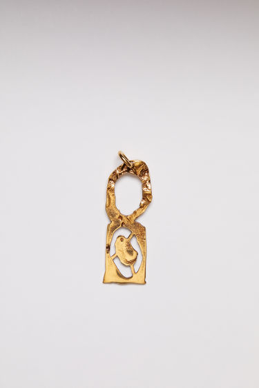Acne Studios pendant is crafted from a hammered gold-tone brass and features a stencil of the letter 'O'  The pendant can be personalised with a chain necklace.