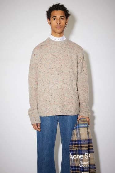 Acne Studios beige/multi sweater is knitted with flecked wool and cashmere-blend yarns that's brushed by hand to create a pilled texture, then finished with ribbed cuffs, collar and hem.