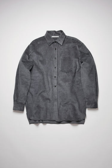 Acne Studios charcoal grey shirt is made from wide-ribbed corduroy to an oversized silhouette and has a pointed collar and a chest patch pocket.