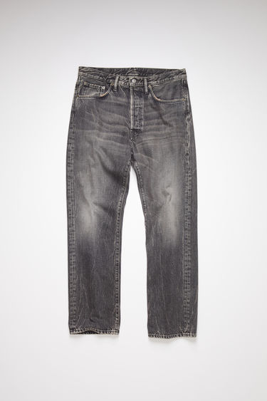 Acne Studios washed out grey jeans are made from rigid denim with a deep rise and a loose leg which achieves a standard straight leg.