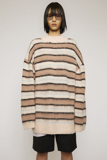Acne Studios old pink/multi striped sweater is crafted from an alpaca blend with hints of wool to create a soft brushed finish and shaped to an oversized fit with dropped shoulder seams.
