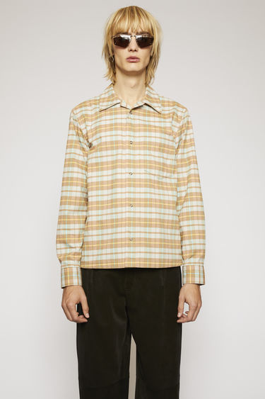 Acne Studios peach/aqua blue shirt is cut to a boxy shape from cotton-flannel which has been brushed for texture and patterned with checks in seasonal colours.