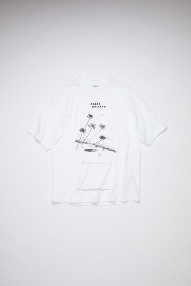 Acne Studios optic white crew neck t-shirt is made of cotton, featuring a Beni Bischof© print.