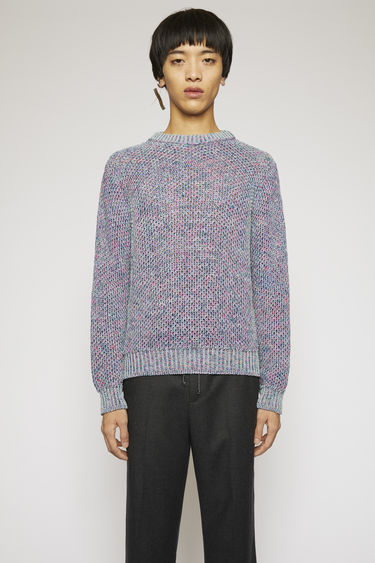 Acne Studios purple melange sweater is knitted with variegated yarns in honeycomb pattern and finished with thick ribbed neck, cuffs and hem.