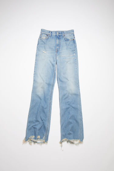 Acne Studios light blue jeans are made from rigid denim with a high rise and a bootcut leg.