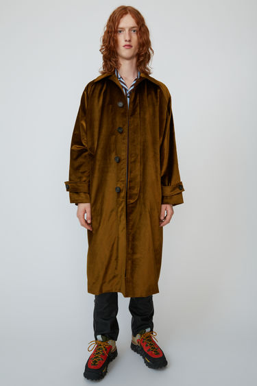Acne Studios oil yellow oversized velvet mac coat with concealed front button placket.