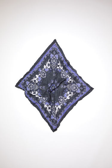 Acne Studios black/blue crinkled, square-shaped bandana scarf is made of a lightweight cotton/silk blend and features a modified paisley print.